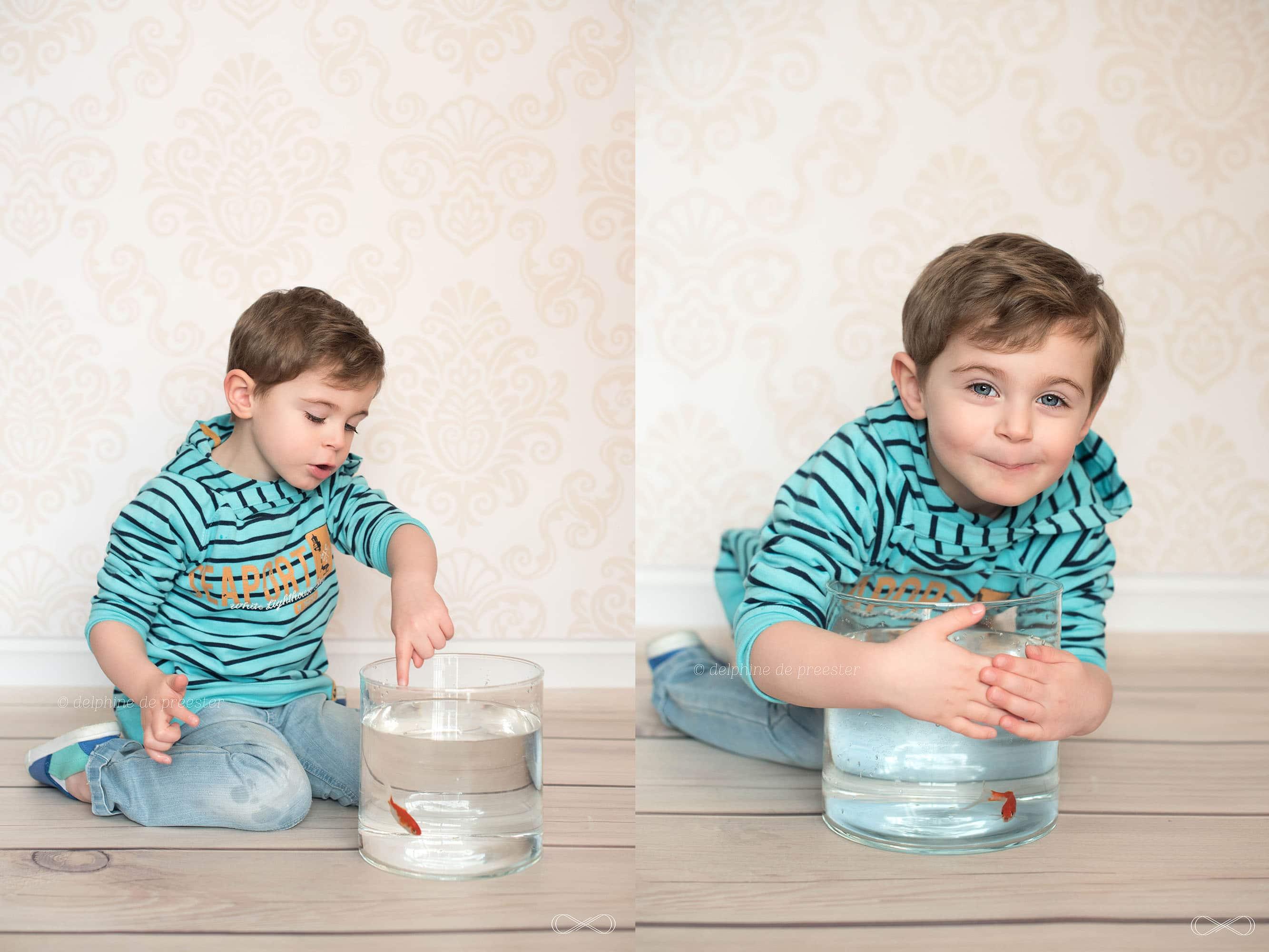 photo enfant avec poisson rouge